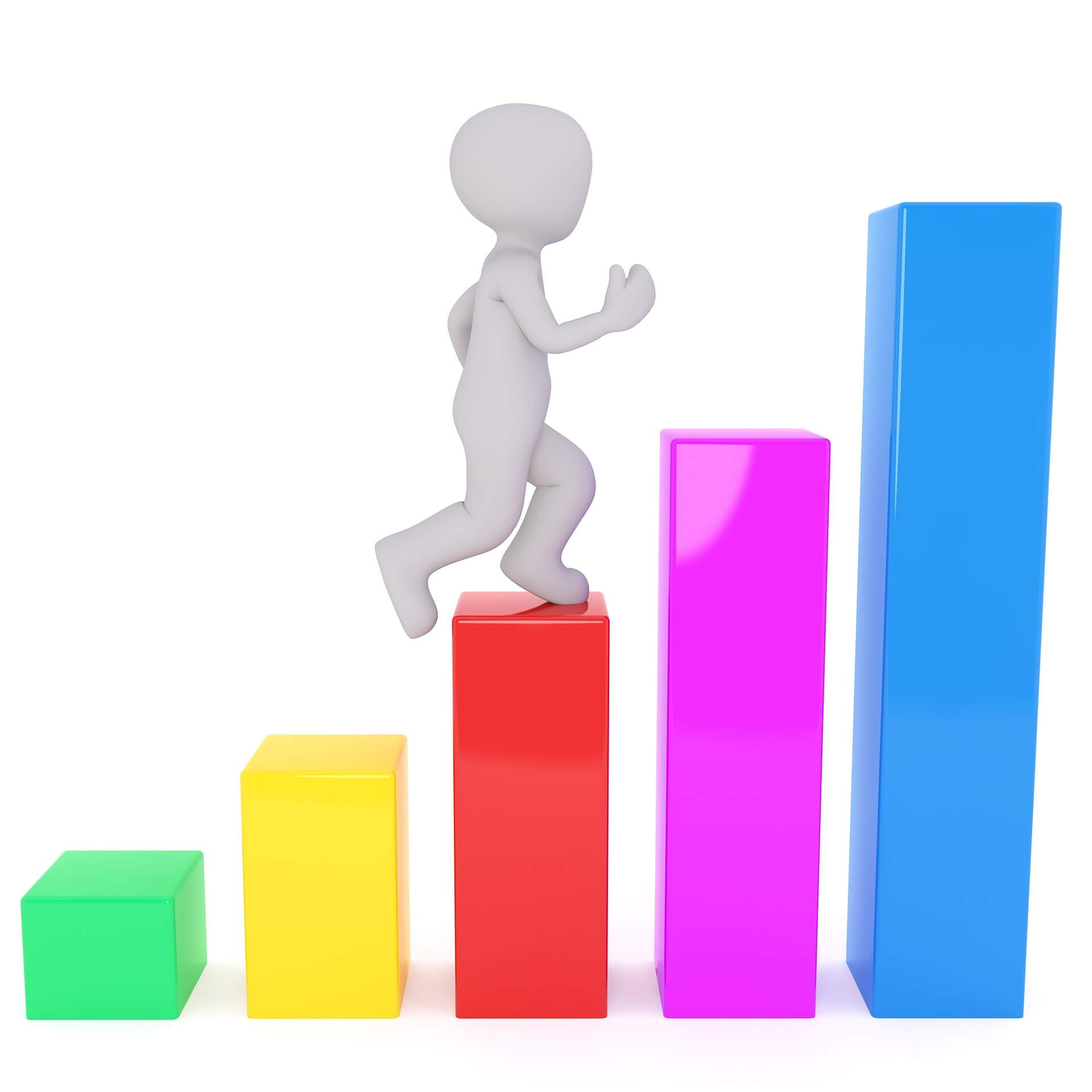 Student grades and confidence improving as he climbs the colourful stairs.