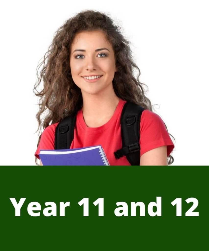 Senior school student with textbook and backpack preparing for tutoring. Senior school tutors
