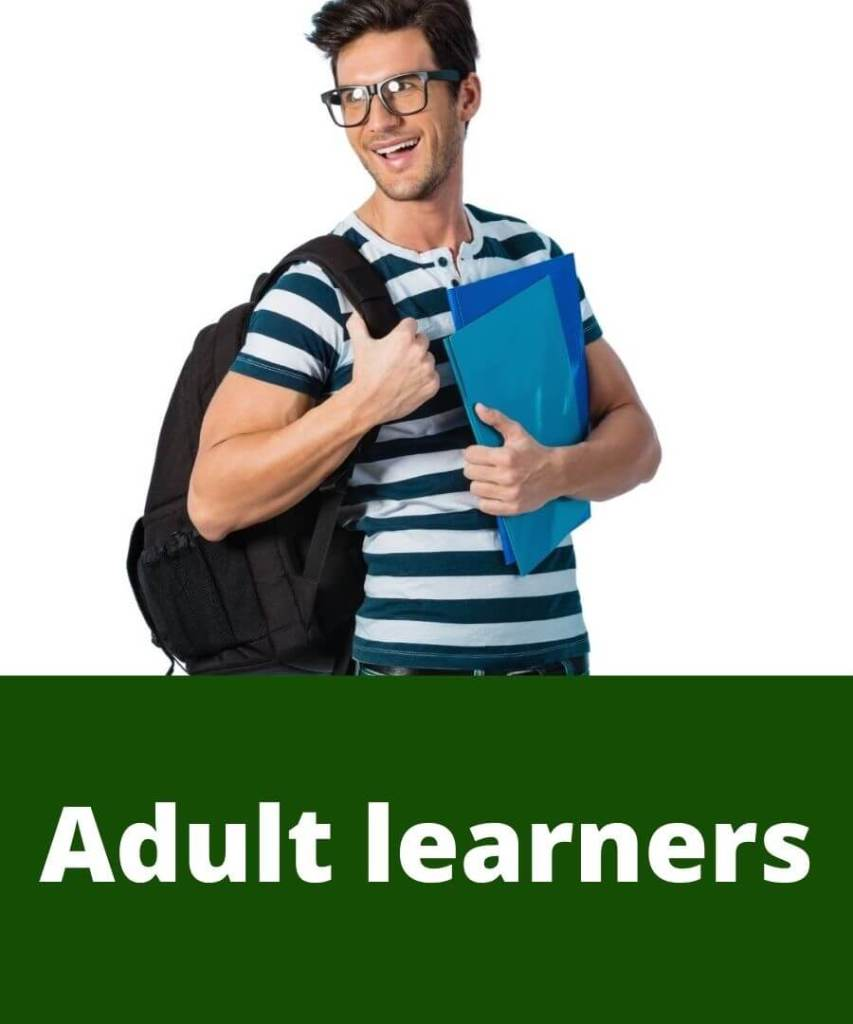 Adult male holds blue folders and backpack as he goes to tutoring. Adult learners.