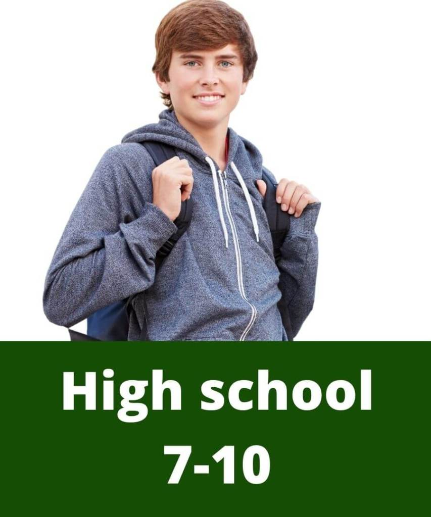 Excited high school student with backpack preparing on online tutoring. High school tutors.